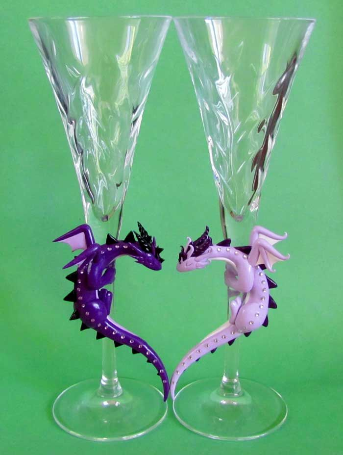 Purple Dragon Toasting Glasses by *DragonsAndBeasties on deviantART
