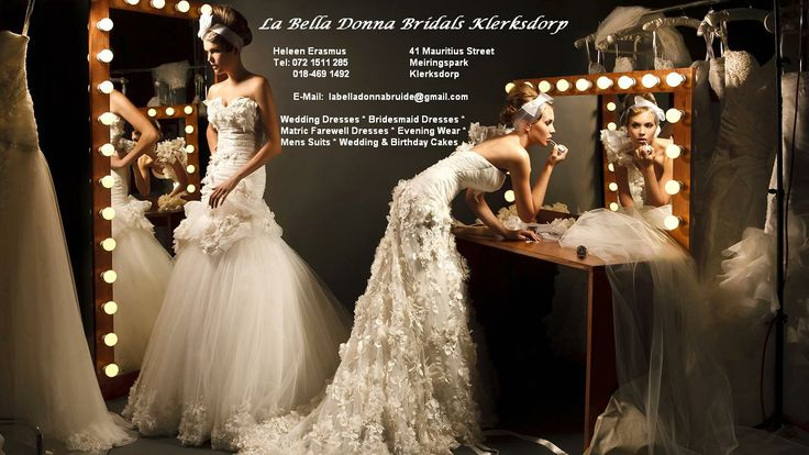 http://klerksdorpweddings.co.za/wwwklerksdorpweddingscoza/blog/la-bella-donna-bridals-wedding-dresses-klerksdorp  Wedding dresses, bridal dresses, matric farewell dresses, evening wear, mens' suits, wedding and birthday cakes - Tannie Heleen Erasmus has years of experience, and is a recognised name in the bridal industry in the KOSH area