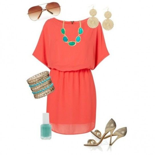 Greta- Coral dress (not neccessarily this style dress), with bright  turquoise accents. for