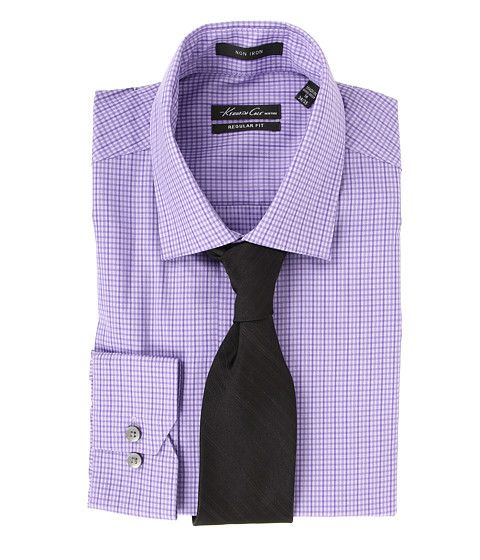 Kenneth Cole New York Non Iron Regular Fit Textured Check Dress Shirt English Violet - 6pm.com