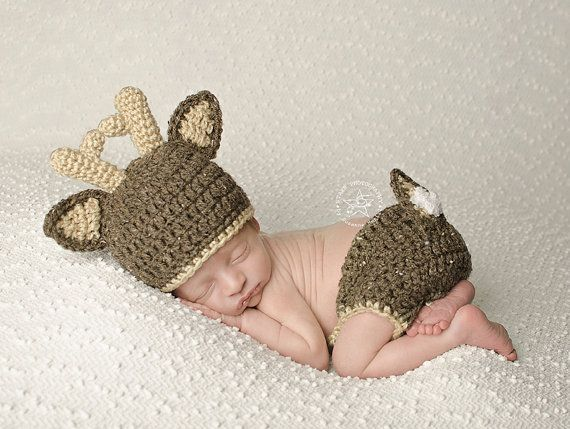 6c71342819e Crochet Deer Hat with Diaper Cover Baby Deer hat and Diaper Cover Baby  Animal Beanie Little Hunter Outfit Newborn Deer Outfit