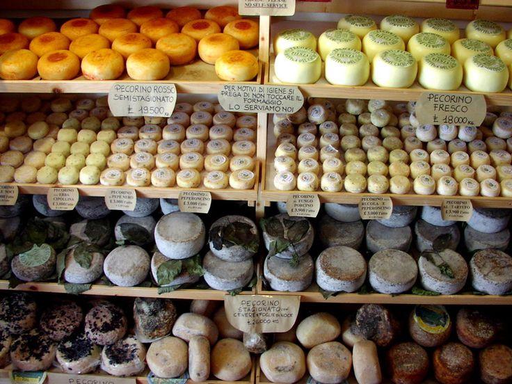 Cheese shop in Pienza, Italy.