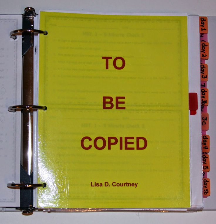 Lesson Plan Notebook Organization - Use a couple of pieces of colored copy paper to make a section in the front of a lesson plan notebook for all papers that need to be copied for the unit.  Everything is at your fingertips!