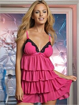Felina Babydoll in Hot Pink or Black; lingerie, honeymoon, gifts for her, sexy, wedding