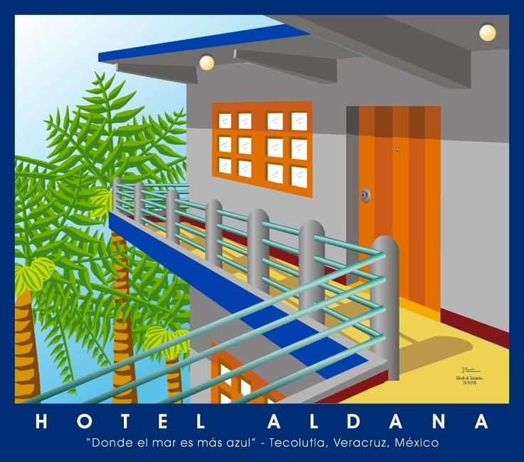 Terraza del Hotel Aldana en Tecolutla, Veracruz, México. Ilustración en FreeHand 10.0