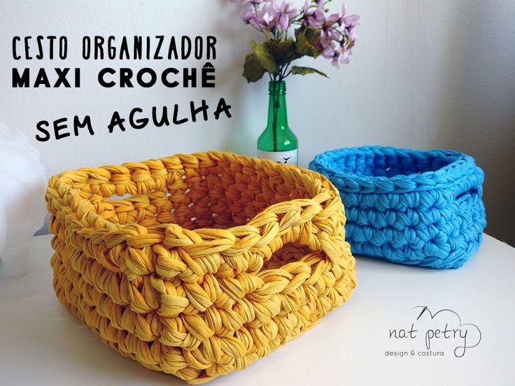 Cesto organizador feito em Maxi Crochê sem agulhas, utilizando fio de malha Quer saber mais sobre a técnica ou sobre o ateliê? ❤ Facebook http://www.facebook...