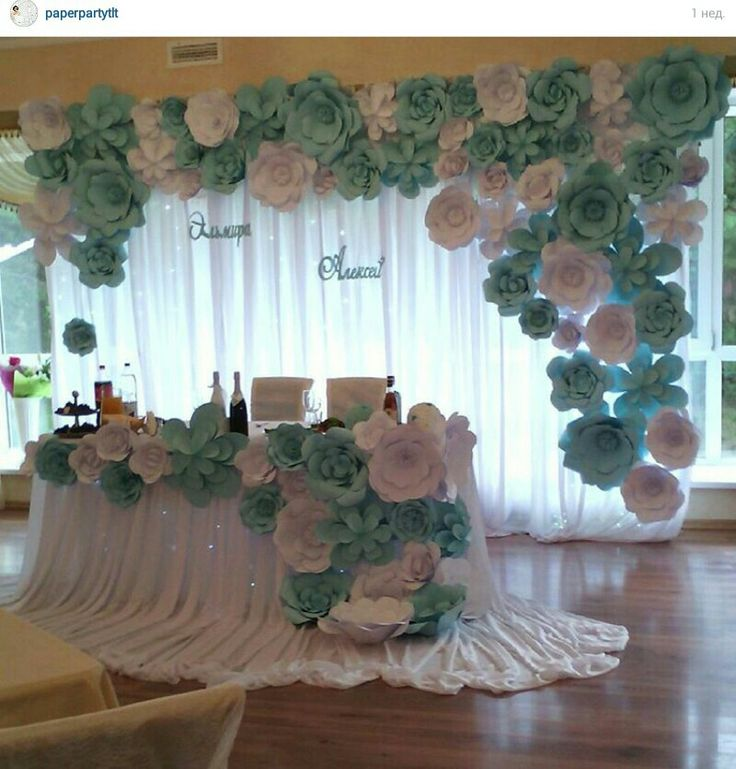 Paper flowers backdrop wedding                                                                                                                                                     More