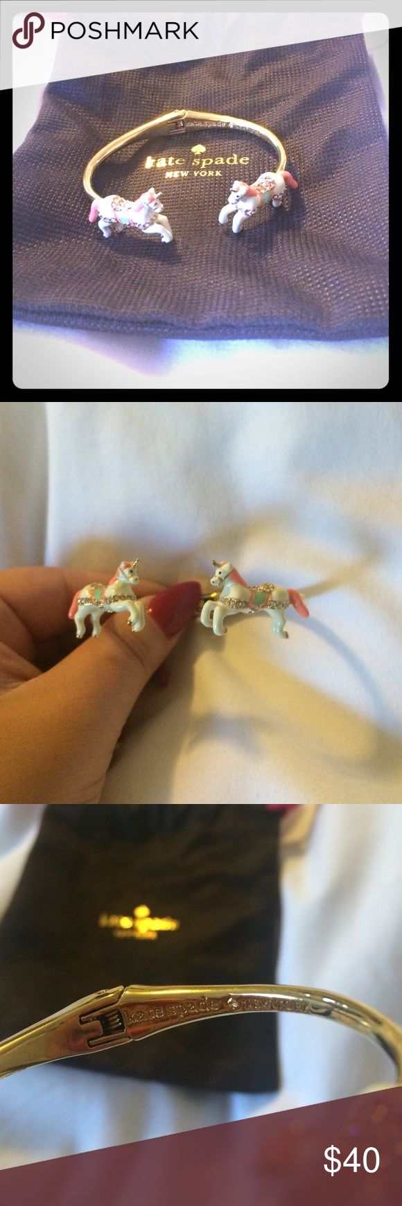 Kate Spade Unicorn Cuff Kate Spade Unicorn Cuff. Worn once, 12-carat gold plated metal with glass stones and enamel fill. Slides on. kate spade Jewelry Bracelets