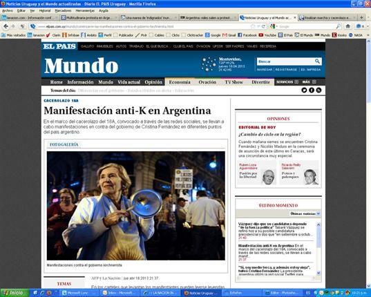 """.LA PRENSA INTERNACIONAL HABLA DE UNA """"MAREA DE INDIGNADOS"""" EN BUENOS AIRES"""