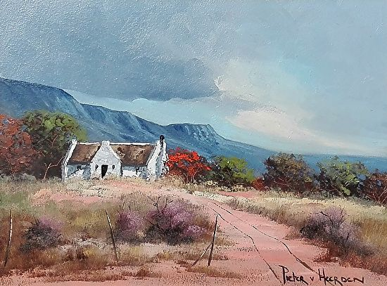 "Hillside-Cottage by Pieter van Heerden Oil ~ 300mm (12"") x 400mm (16"")"