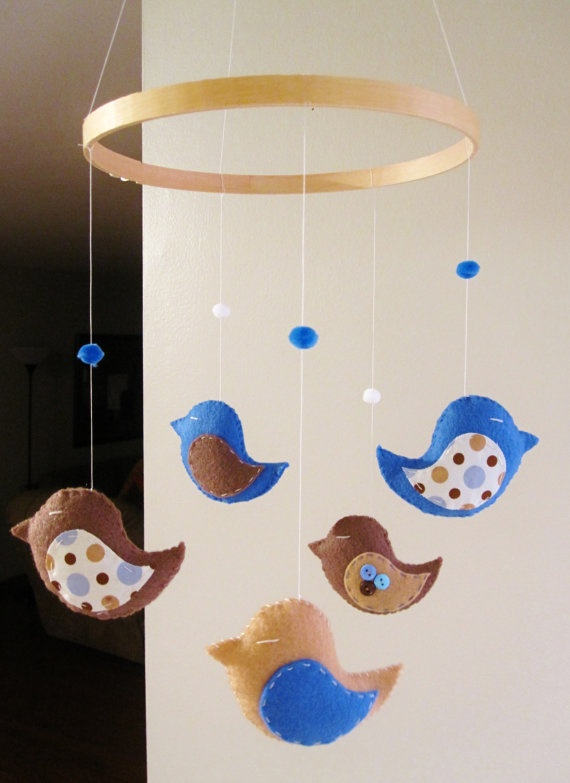 www.mobauk.com Another bird themed baby mobile that would look really cute above either a Linen, Cornflower or Dove Grey Moba.