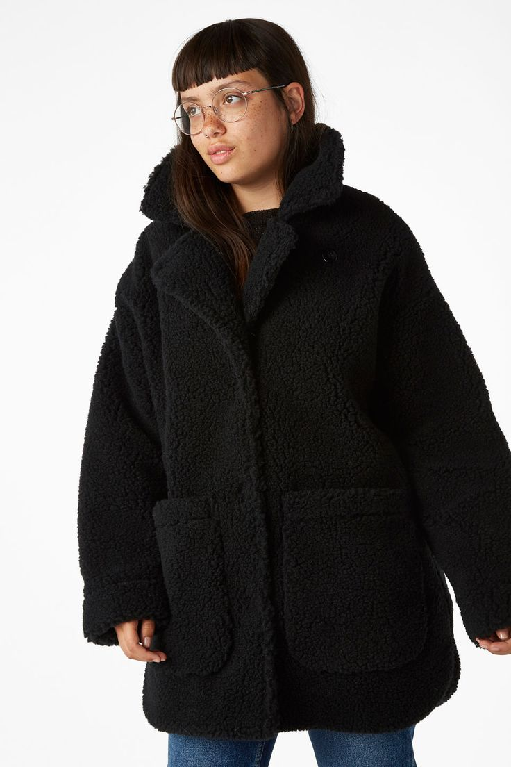 Faux shearling coat - Black magic - Coats & Jackets - Monki GB