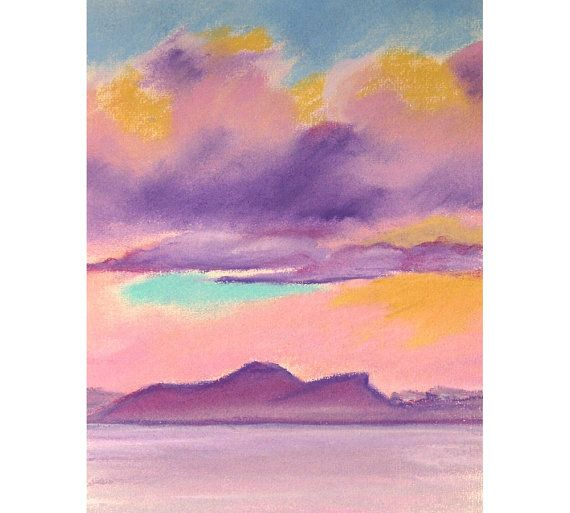 Original pastel landscape seascape pink clouds over Forth Edinburgh Scotland sea artwork on Etsy, £70.00