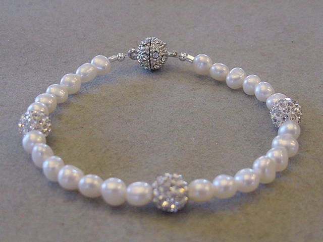 Freshwater Pearl Bracelet with Crystal Pave beads Bracelet Crystal magnetic clasp Bridal jewelry Prom Jewelry by Magicclosetbling on Etsy