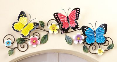 Butterfly and Floral Spring Wall Art Decor