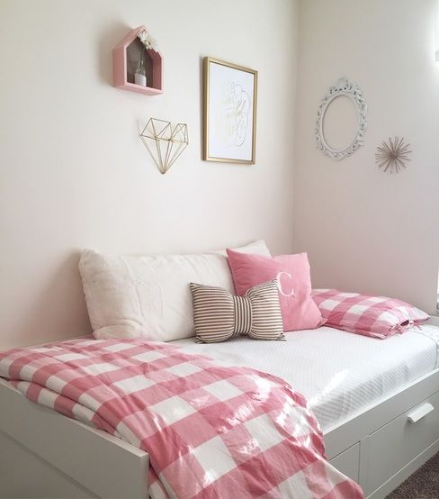 Ikea Day Bed Bed With Storage And Gingham Bedding Simple Girls Room Pink And Gold Decor