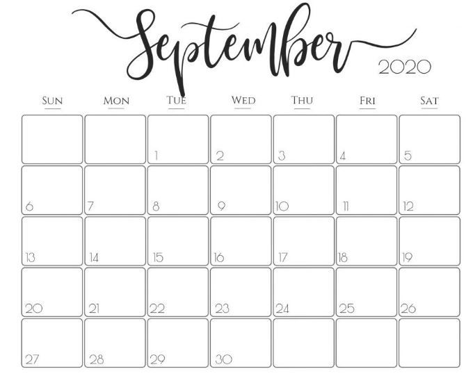 Cute September 2020 Calendar Calendar Printables September Calendar Printable September Calendar