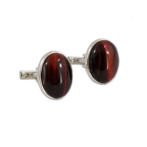 Red tiger eye falcon eye oval cabochon pair 925 solid silver mens cuff