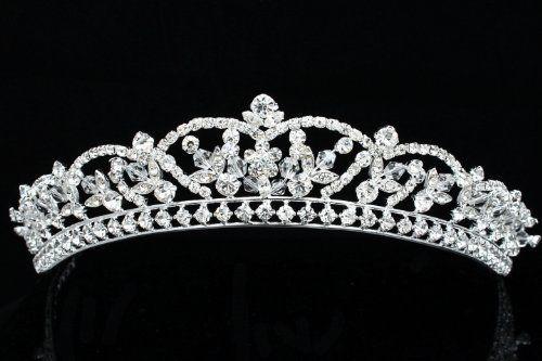 Rhinestone Crystal Beads Flower Prom Bridal Wedding Tiara Crown by Venus Jewelry. $22.89
