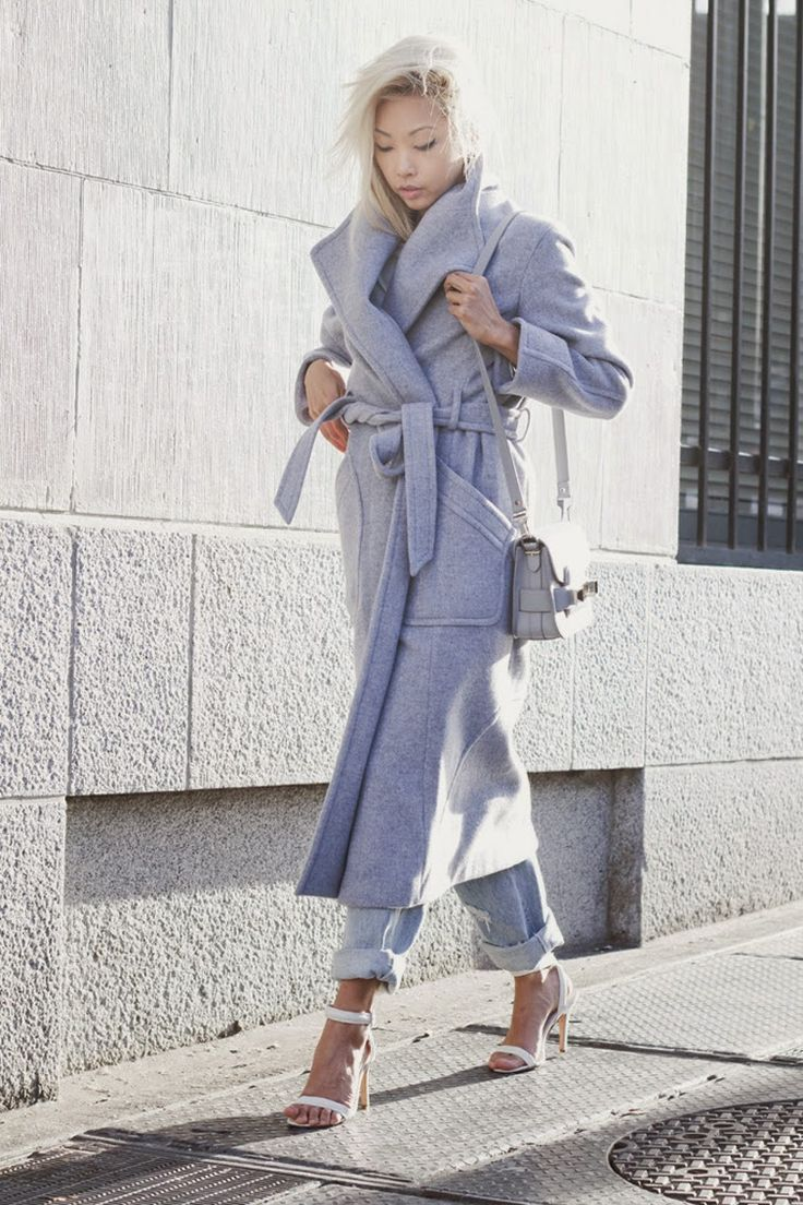Vanessa Hong from The Haute Pursuit, baby blue Theyskens Theory coat