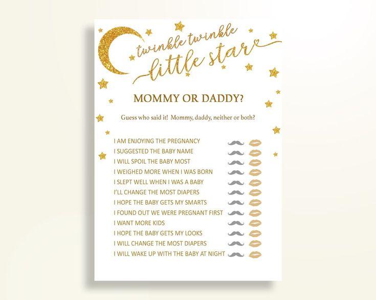 Mommy Or Daddy Baby Shower Mommy Or Daddy Stars Baby Shower Mommy Or Daddy Baby Shower Stars Mommy Or Daddy Gold White digital print RKA6V - Digital Product #babyshowergifts #babyshowerideas