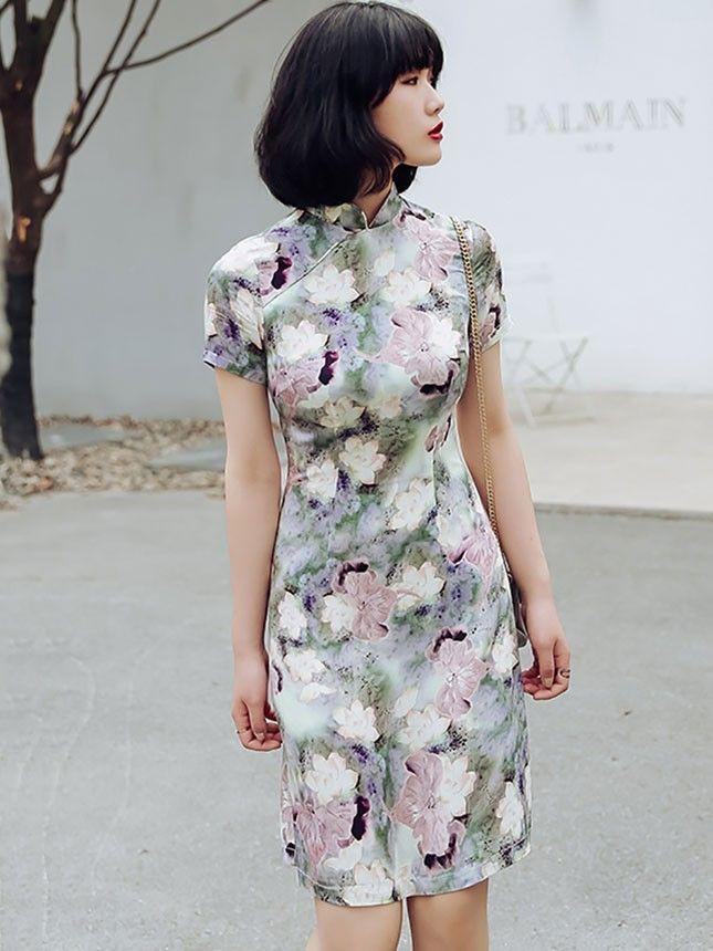 2018 Summer Qipao / Cheongsam Dress in Lotus Print - CozyLadyWear