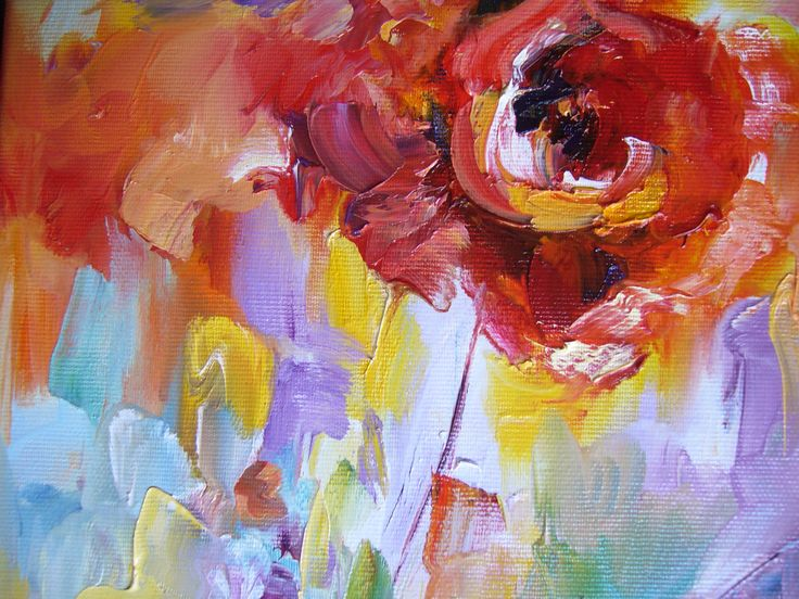 Poppy flower- oil on canvas, detail, Derecichei Simona Mihaela