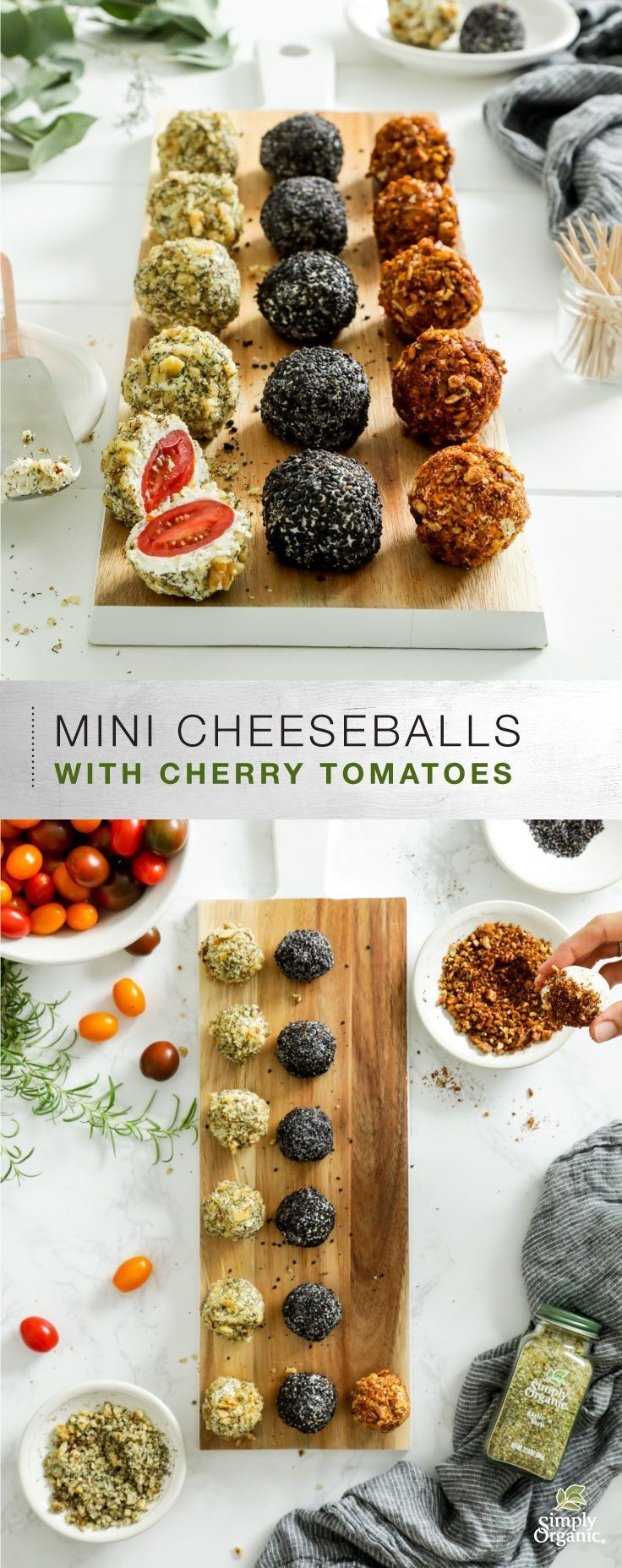 Set the table for joy this season with this spiced right Organic Mini Cheese Balls with Cherry Tomatoes from Simply Organic. #OrganicMoments