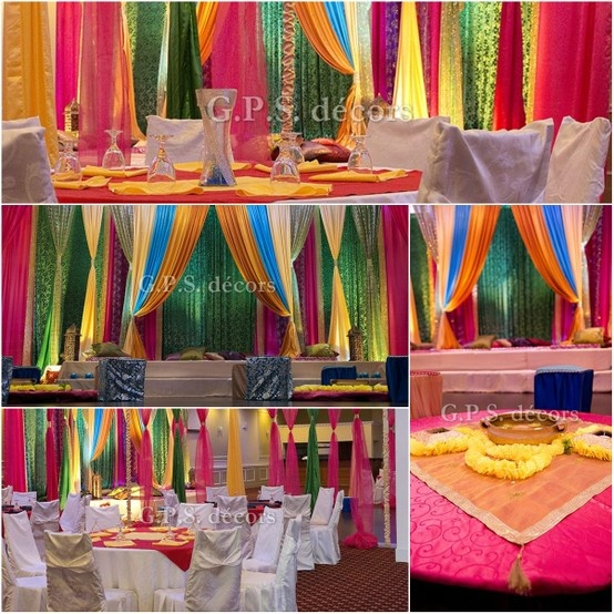 Colourful ladies sangeet wedding decor colourful events for Indian wedding decoration ideas home