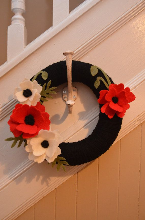 """Yarn Wreath - REMEMBRANCE DAY WREATH - 12"""" Yarn Covered Wreath with Felt Flowers and Felt Accents"""