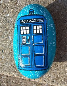 Doctor Who Tardis Painted Rock by aprildraven on DeviantArt (Rock Painting)