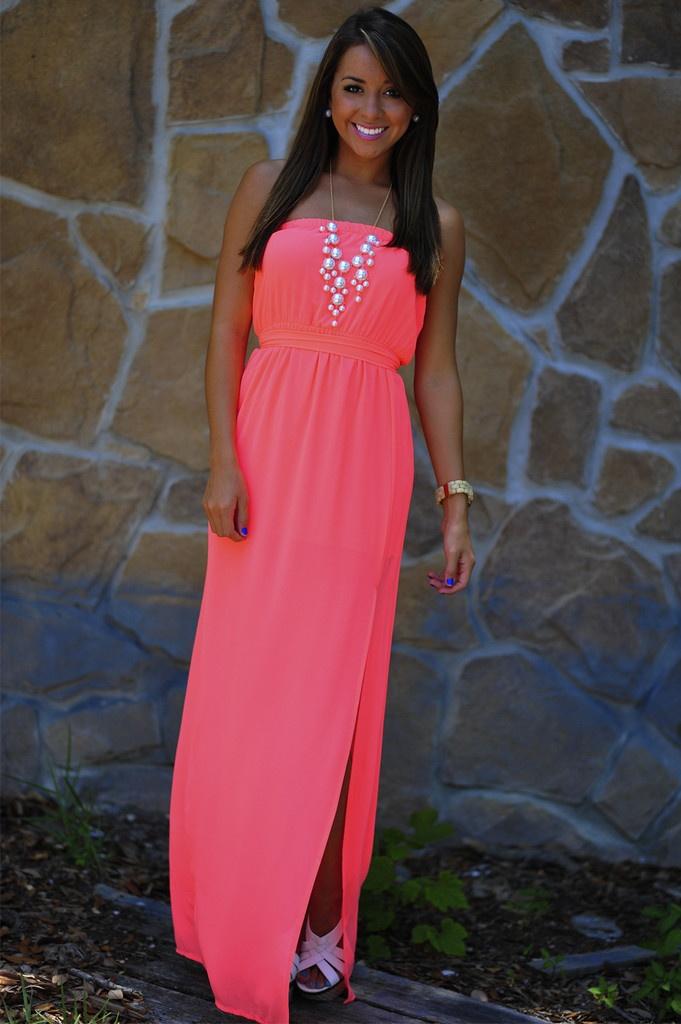 Heartbeat Maxi Dress: Neon Coral