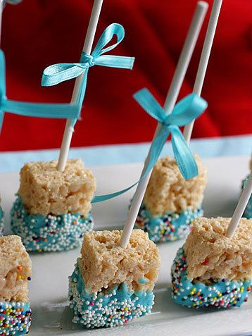 (EXAMPLE ETSY LISTING, NICE PICS) Rice Krispy Treats Edible Wedding Favors Kids by SweetPiefection, $18.00