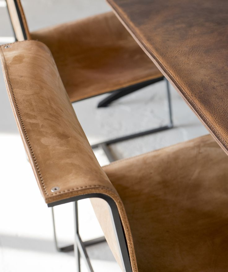 Leather chair and Leather tabletop  #Leathertable #steeltable
