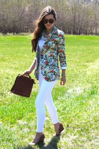 all white with floral blazer