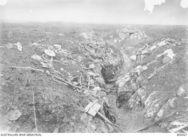 Captured German trenches, north west of the Pozieres Windmill.