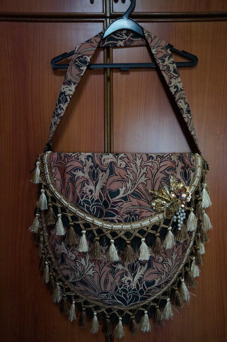DIY bohemian giant sling bag with purchased brooch