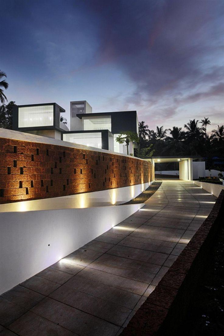 Impressive Modern Residence Wit Glamorous Wall Striking Car Porch Design  Ideas Wth Hidden Floor Lamp