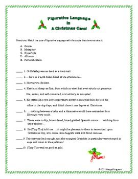 Figurative Language in A Christmas Carol Worksheet. Using quotes from A Christmas Carol by Charles Dickens, students have to identify types of figurative language such as metaphor, simile, personification, hyperbole, and allusion. Key included. 2 pages