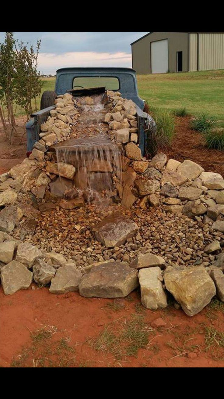 Vintage truck water feature