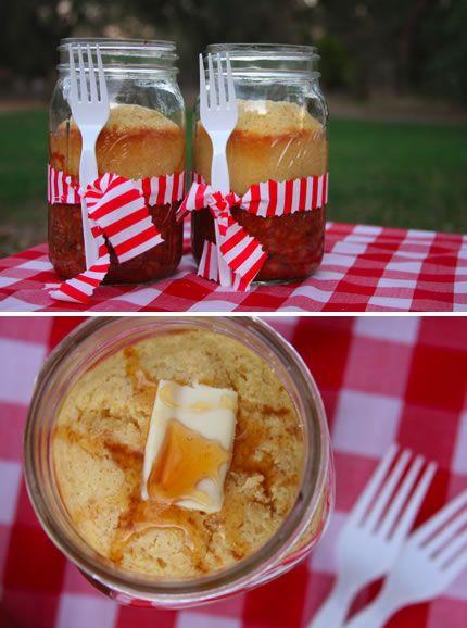 chili and cornbread in a mason jar