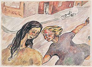 Joy Hester. Two girls in a street ((Two women in street) [recto]; (Seated figure…