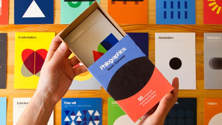 About to make Kickstarter history, here comes a visual philosophy dictionary, explaining 95 complicated concepts through 95 uncomplicated designs using just color and shape!