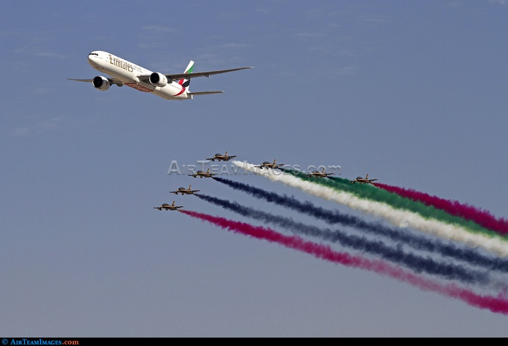 This Emirates Boeing 777 performed a flypast with the new UAE display team Al Fursan at the Dubai airshow 2011.#emirates #boeing #airbus #fly #aviation