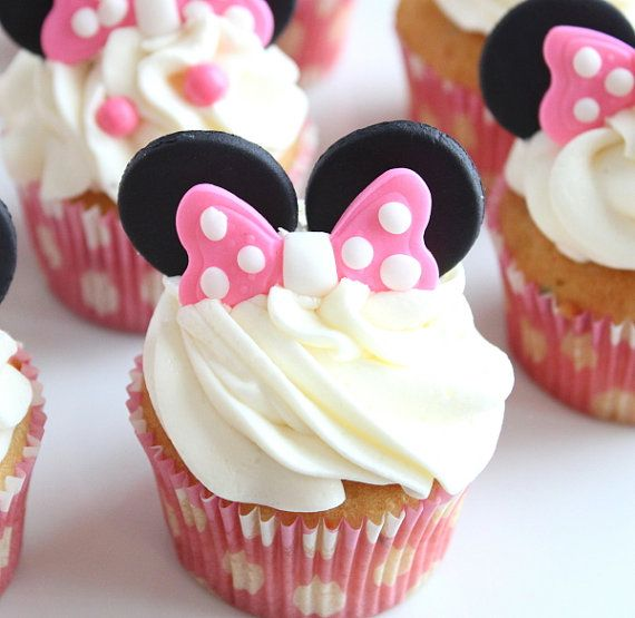 Minnie mouse ears and bow cupcake toppers- set of 12, minnie mouse party, minnie…