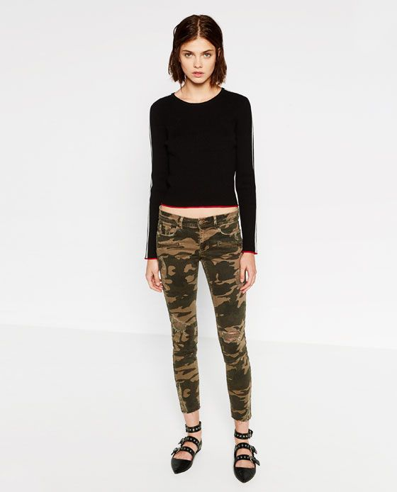 Image 1 of MID-RISE PRINTED SKINNY JEANS from Zara