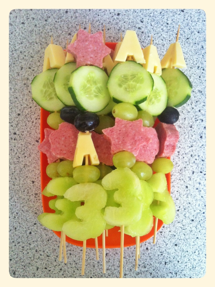 Healthy birthday treat for a 3rd birthday. Melon, cheese, sausage, grapes and cucumber.