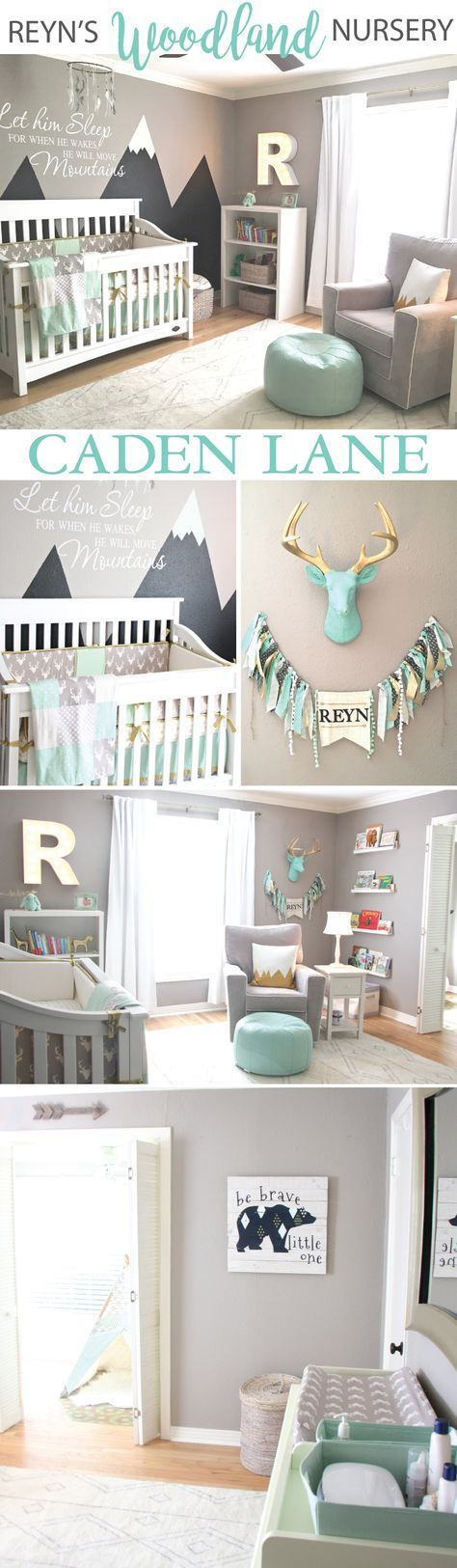 This adorable mint & gray baby boy woodland nursery design is so fun! - click through to find out all the details