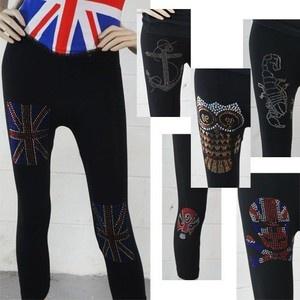Yoga Pants Short Leggings w/ Symbols Anchors/Flag/Owl/Scorpion/Mask/Cat/Skull US Starting @ $9.50