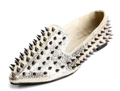 Spiked Gold Smoking Slippers